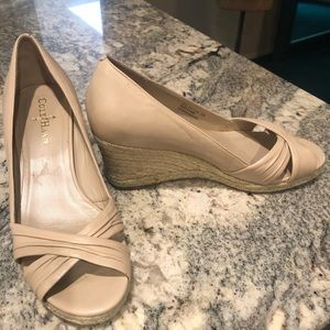 Cole Haan Beige Leather Peep Toe Wedge Sandals